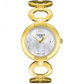 Ladies Gold Plated Mother of Pearl Dial Lovely Watch T084.210.33.117.00