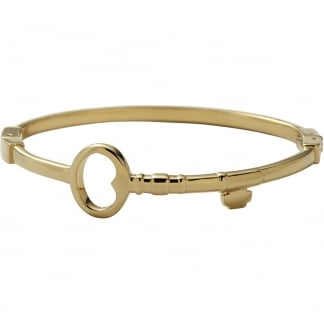 Ladies Gold Open Key Hinged Bangle
