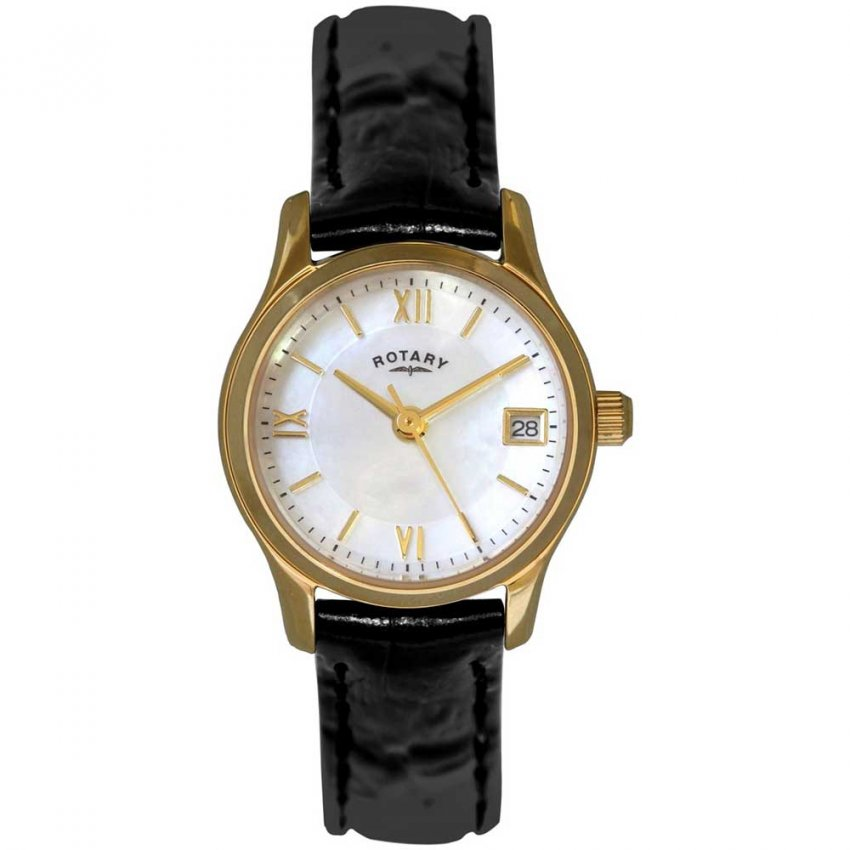 Rotary Ladies Gold Plated Black Leather Strap Watch LSI2368/41