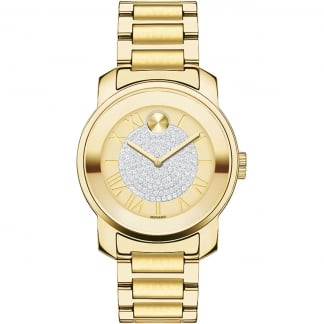 Ladies Gold Plated Bold Luxe Pavé Crystal Watch