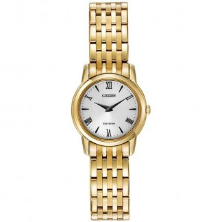 Ladies Eco-Drive Gold Plated Stiletto Watch EG3042-54B