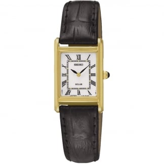 Ladies Gold Plated Solar Powered Strap Watch