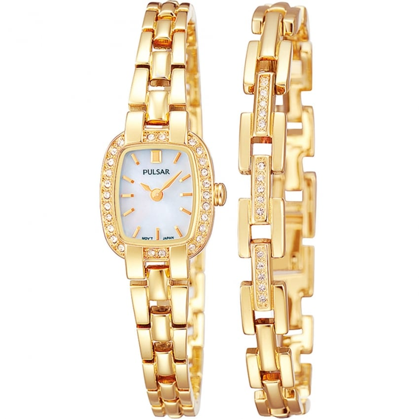 Pulsar Ladies Gold Plated Stone Set Watch and Bracelet Set PEGG42X2