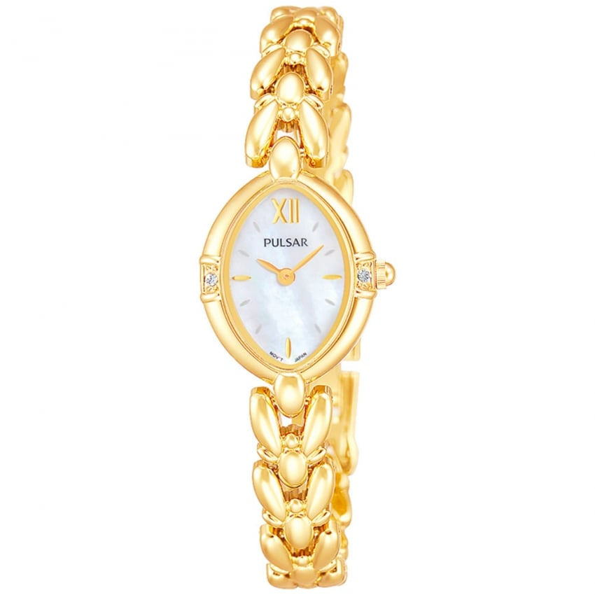 Ladies Gold Plated Stone Set Watch PEGG22X1