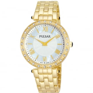 Ladies Gold Plated Stone Set Watch PM2106X1