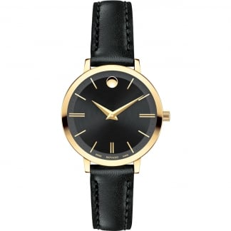 Ladies Gold Plated Ultra Slim Leather Strap Watch