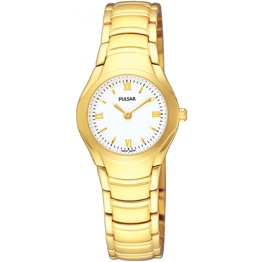 Pulsar Ladies Gold Plated White Dial Classic Watch PEGE80X1