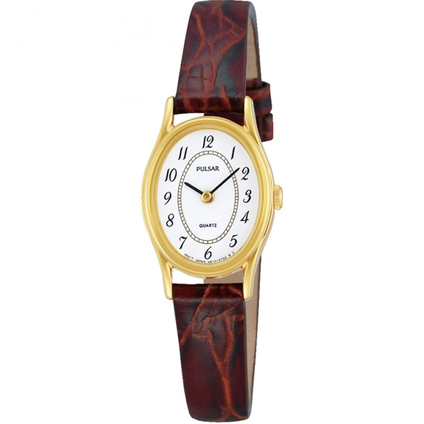 Pulsar Ladies Gold PVD Brown Leather Strap Watch PPGD68X1