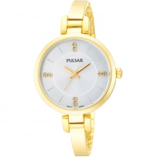 Ladies Gold PVD Half Bangle Dress Watch