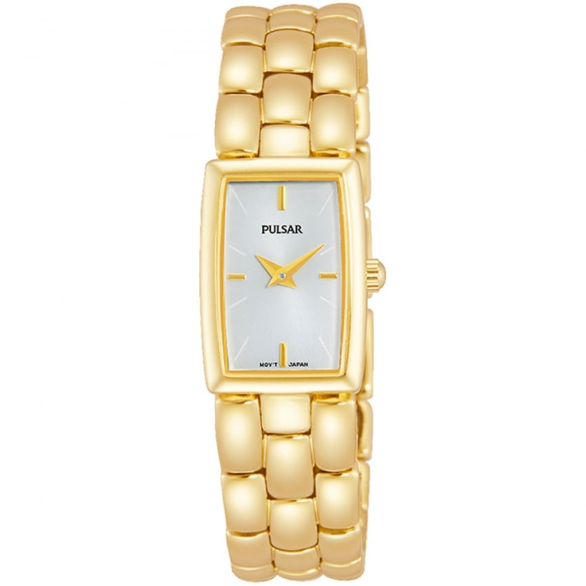 Pulsar Ladies Gold Rectangular Watch PJ4002X1