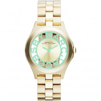 Ladies Gold Tone Skeleton Dial Link Mint Henry Watch MBM3295