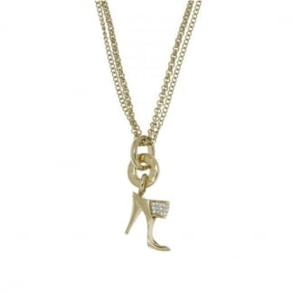 Ladies Gold Stone Set High Heel Necklace NJ1473040