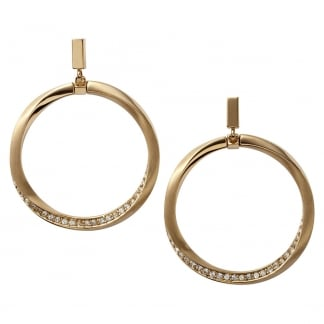 Ladies Gold Stone Set Hoop Earrings