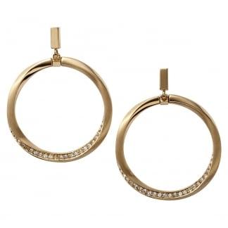 Ladies Gold Stone Set Hoop Earrings NJ1601040
