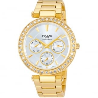 Ladies Gold Stone Set Multifunction Watch