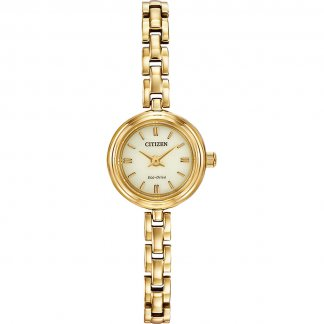 Ladies Gold Tone Eco-Drive Watch with Champagne Dial