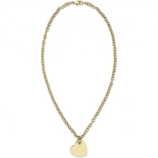 Ladies Gold Tone Heart Necklace