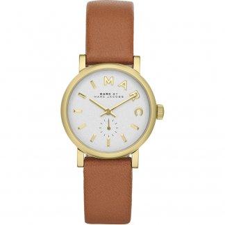 Ladies Gold Tone Tan Leather Strap Mini Baker Watch MBM1317