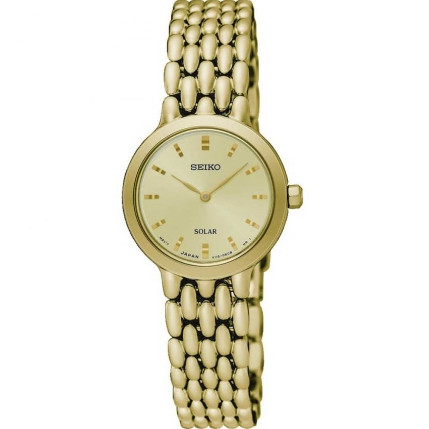 Seiko Ladies Gold Tone Solar Watch SUP352P1