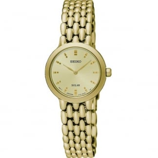 Ladies Gold Tone Solar Watch