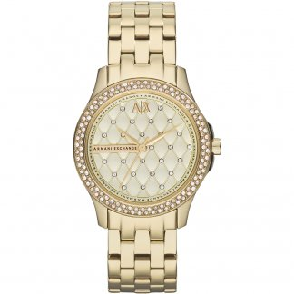 Ladies Gold Tone Stone Set Watch