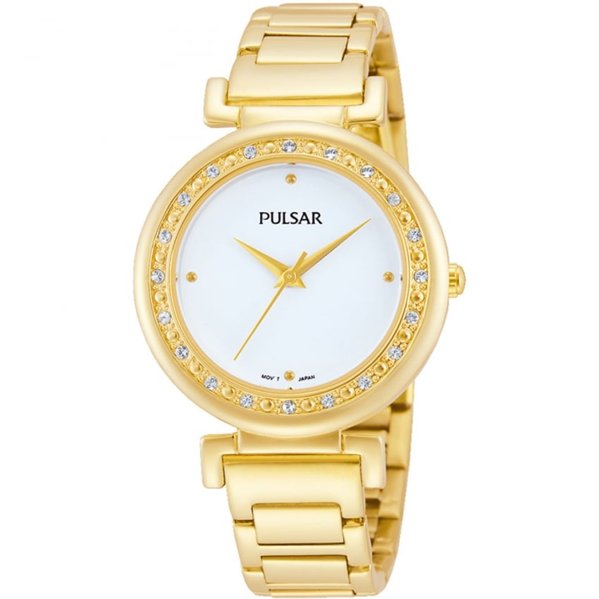 Pulsar Ladies Gold with Stone Set Bezel Watch PH8104X1