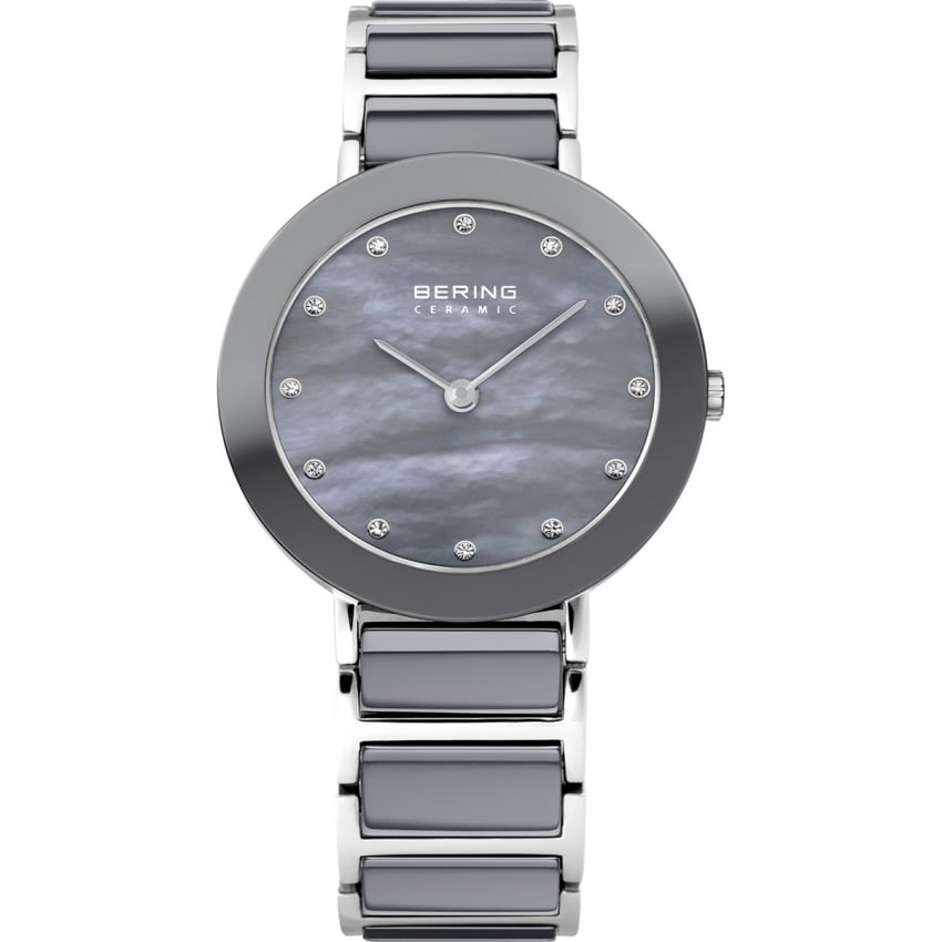 Bering Ladies Grey Ceramic & Steel Watch 11429-789