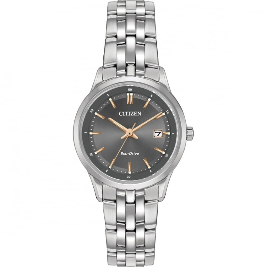 Citizen Ladies Grey Dial Eco-Drive Watch With Rose Gold Detail EW2400-58H