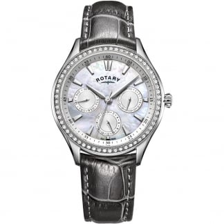 Ladies Hampstead Grey Leather Crystal Set Watch