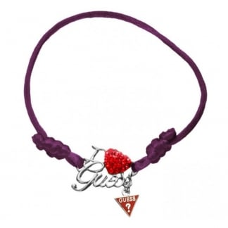 Ladies 'I Love Guess' Purple Friendship Bracelet