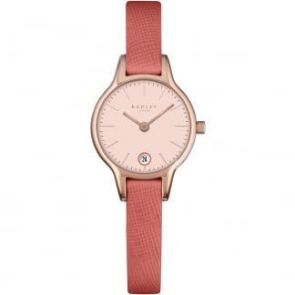 Ladies 'Long Acre' Coral Leather Strap Watch