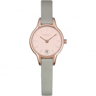 Ladies 'Long Acre' Rose Gold PVD Green Strap Watch