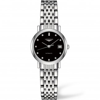 Ladies Elegant Flagship Diamond Set Black Dial Watch L4.309.4.57.6
