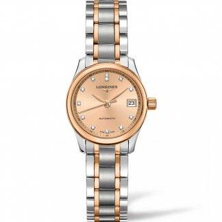 Ladies Master Automatic Steel & Rose Diamond Watch L2.128.5.99.7