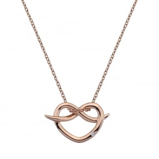 Ladies Love Infinity Rose Gold Necklace