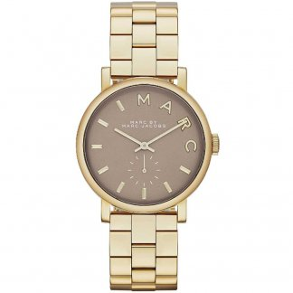 Ladies Gold Tone Brown Dial Baker Watch MBM3281