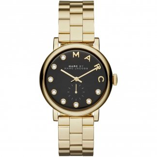 Ladies Gold Tone Black Dial Baker Watch MBM3421