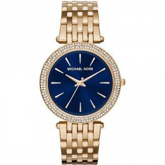 Ladies Gold Tone Darci Glitz Navy Dial Watch MK3406