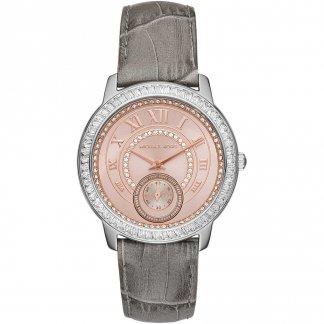 Ladies Madelyn Grey Leather Watch MK2446