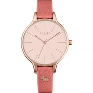 Ladies 'Millbank' Pink Leather Strap Watch