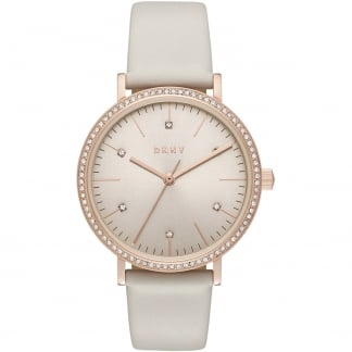 Ladies Minetta Taupe Leather Strap Watch