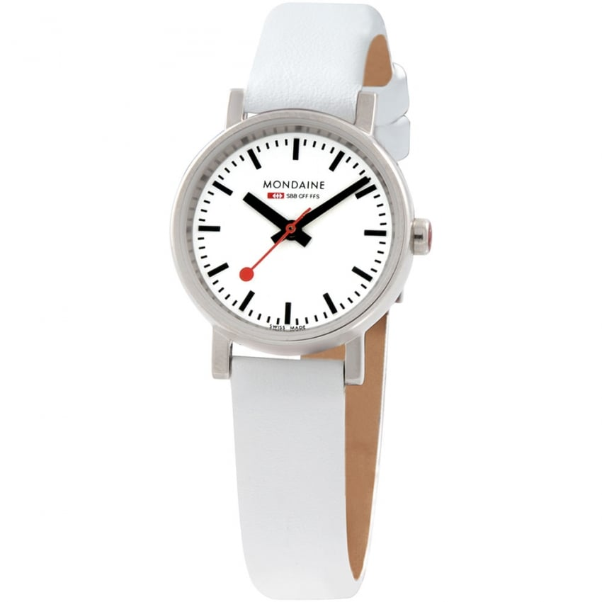 Mondaine Ladies White Leather Evo Petite Watch A658.30301.11SBN