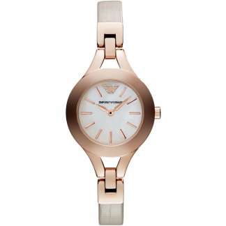 Ladies Mother of Pearl Dial Cream Strap Watch AR7354