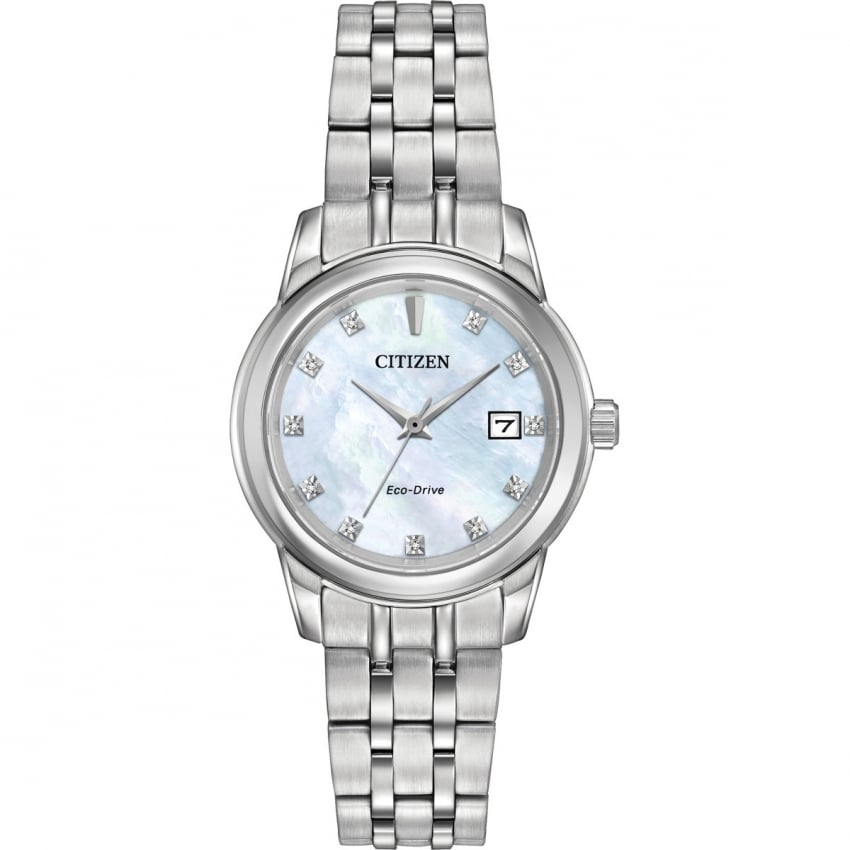 Citizen Ladies Mother of Pearl Diamond Set Eco-Drive Watch EW2390-50D