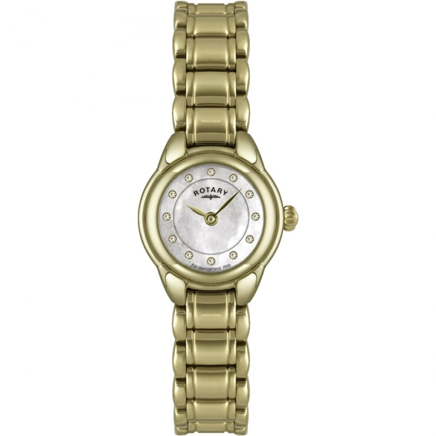 Rotary Ladies Mother of Pearl Stone Set Gold Tone Watch LB02604/41