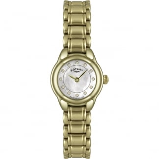 Ladies Mother of Pearl Stone Set Gold Tone Watch