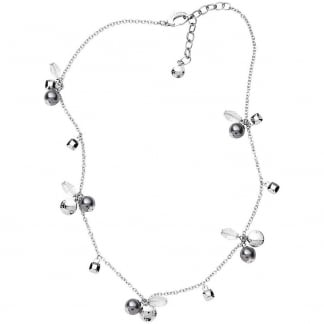 Ladies CZ & Simulated Pearl Multi Station Necklace NJ1809040
