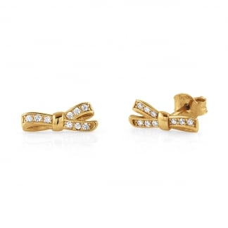 Ladies My Cherie Gold Stone Set Bow Earrings