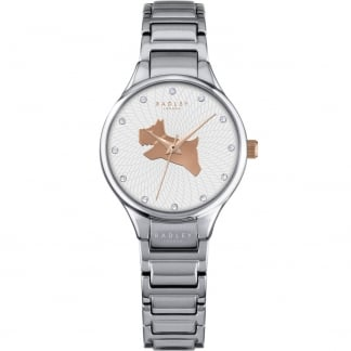 Ladies 'On The Run' Silver Tone Stone Set Watch