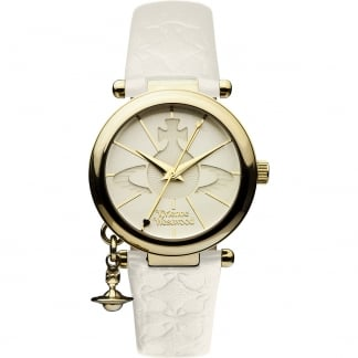 Ladies Orb II PVD Gold Plated White Strap Watch